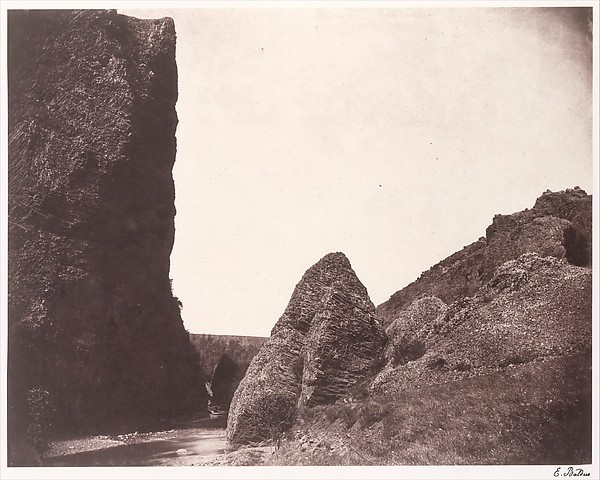 [Rocks in the Auvergne], Édouard Baldus (French, born Prussia, 1813–1889), Salted paper print from paper negative