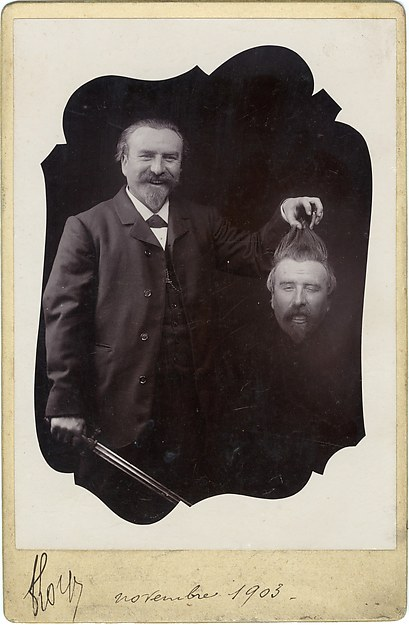 [Bearded Man with Sword Holding His Own Decapitated Head], Unknown (French), Gelatin silver print