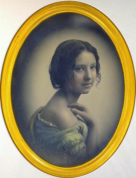 [Young Girl with Hand on Shoulder], Southworth and Hawes (American, active 1843–1863), Daguerreotype with applied color
