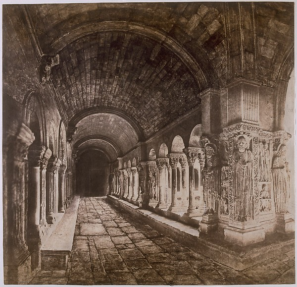 Cloister of Saint-Trophîme, Arles, Édouard Baldus (French, born Prussia, 1813–1889), Salted paper print from paper negatives with applied media