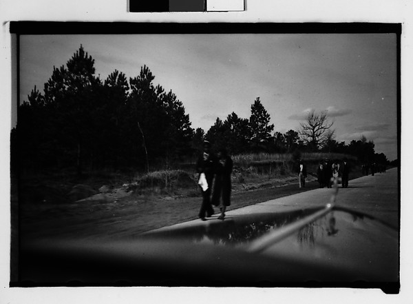 [People Walking by Side of Road, From Moving Automobile, Macon, Georgia], Walker Evans (American, St. Louis, Missouri 1903–1975 New Haven, Connecticut), Film negative