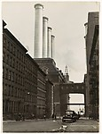 [City Street Ending at Factory with Four Smokestacks], Herbert J. Seligmann (American, 1891–1984), Gelatin silver print