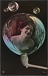 [Woman in Soap Bubbles], Unknown, Gelatin silver print with applied color
