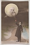 [Man Drinking with the Moon], Unknown, Gelatin silver print with applied color