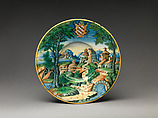 Plate (tagliere), probably workshop of Guido Durantino (Italian, Urbino, active 1516–ca. 1576), Maiolica (tin-glazed earthenware), Italian, Urbino