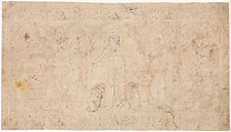 Design for an Antependium: The Madonna della Misericordia with Saints John the Baptist and John the Evangelist, the Circumcision, and the Presentation of the Virgin, Attributed to Lorenzo Veneziano (Italian, Venice, active 1356–72), Pen and brown ink, yellow watercolor in the backgrounds of the niches.