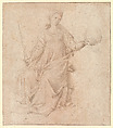 Justice, Follower of Fra Angelico (Guido di Pietro) (Italian, Vicchio di Mugello ca. 1395–1455 Rome), Pen and brown ink, brush and brown wash (the blade of the sword in pen and darker brown ink)