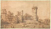 Warwick Castle: The East Front, Canaletto (Giovanni Antonio Canal) (Italian, Venice 1697–1768 Venice), Pen and brown ink, gray wash