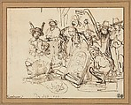 Satire on Art Criticism, Rembrandt (Rembrandt van Rijn) (Dutch, Leiden 1606–1669 Amsterdam), Pen and brown ink corrected with white.