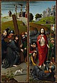 Christ Carrying the Cross, with the Crucifixion; The Resurrection, with the Pilgrims of Emmaus, Gerard David (Netherlandish, Oudewater ca. 1455–1523 Bruges), Oil on oak panel