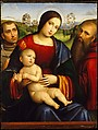 Madonna and Child with Saints Francis and Jerome, Francesco Francia (Italian, Bologna ca. 1447–1517 Bologna), Oil and gold on wood