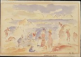 Beach Scene, Auguste Renoir (French, Limoges 1841–1919 Cagnes-sur-Mer), Pen and brown ink with watercolor wash on buff paper, darkened