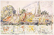 Le Pouliguen: Fishing Boats, Paul Signac (French, Paris 1863–1935 Paris), Black crayon and watercolor