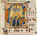 Ascension in an Initial V, Niccolò di ser Sozzo (Italian, Siena, active ca. 1334, died 1363), Tempera and gold on parchment
