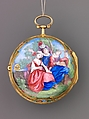 Watch Painted with a Pastoral Scene, Outer case of painted enamel on gold. Inner case of gold with an unidentified maker's mark consisting of the letters ic over b below a coronet (incuse) on the interior and an eagle's head, a French guarantee mark for gold in use between 1 January 1847 and 1 July 1919 on the pendant. Dial of gold and white enamel with black numerals; silver hands set with diamond chips. Movement of gilt brass and steel. Movement signed (on the back plate): Tomson/london., French and probably Swiss
