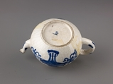 "Small covered wine pot or teapot, Chinese  , Qing Dynasty, Kangxi period, ""Soft-paste"" type porcelain painted in underglaze blue., Chinese"