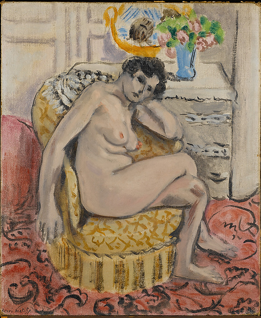 Nude in an Armchair (Nu au fauteuil), Henri Matisse (French, Le Cateau-Cambrésis 1869–1954 Nice), Oil on canvas board