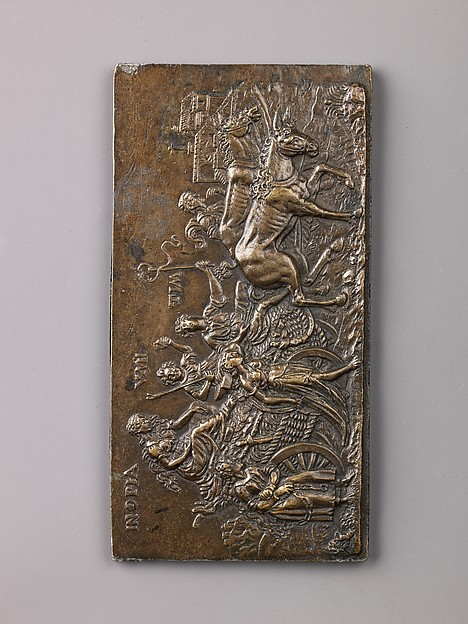Allegory of the Triumph of Poverty, Copper alloy with a natural brown to green patina; the reverse has remnants of solder., South Netherlandish (Antwerp?)