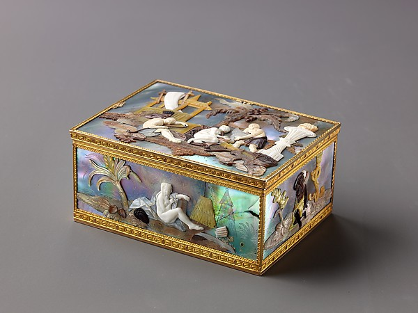 Snuffbox with Mother-of-Pearl Decoration, Gold, ivory, mother-of-pearl, German