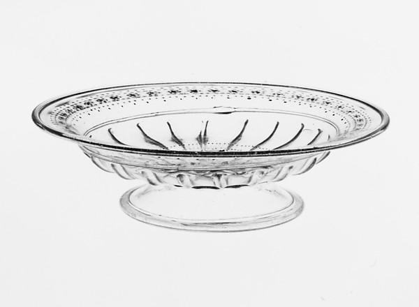 Tazza, Colorless (slightly gray), bubbly nonlead glass. Blown, pattern molded, enameled, gilt., Italian (Venice)