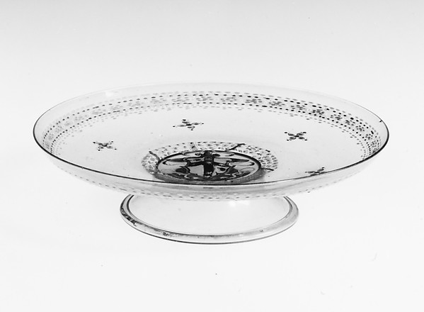 Armorial tazza, Colorless (slightly gray) nonlead glass.  Blown, enameled, gilt., Italian (Venice)