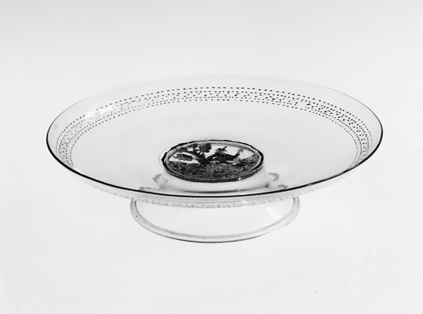 Tazza, Colorless (slightly gray) nonlead glass.  Blown, enameled, gilt., Italian (Venice)