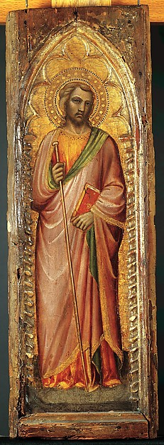 One of a pair of pilaster panels, A single piece of poplar. Gilt; red-brown bole. , Florentine