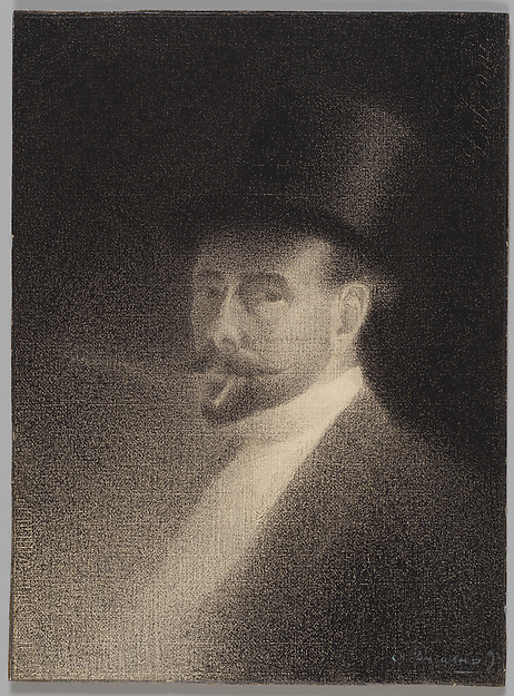 Self-Portrait, Charles Angrand (French, Criquetot-sur-Ouville 1854–1926 Rouen), Conté crayon (graphite border on all edges) on white laid paper mounted on board