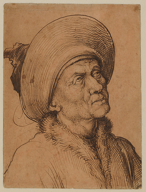 Bust of a Man in a Hat Gazing Upward, Martin Schongauer (German, Colmar ca. 1435/50–1491 Breisach), Pen and carbon black ink, over pen and brown ink, on paper prepared with sanguine wash.