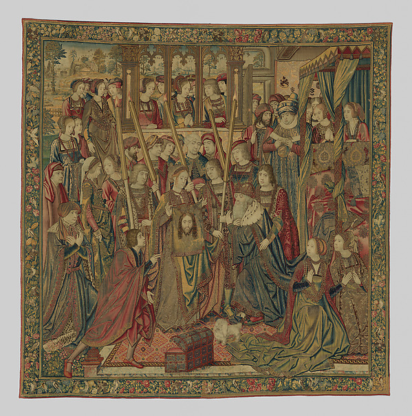Emperor Vespasian Cured by Veronica's Veil, Wool, silk, and gilt-metal-strip-wrapped silk in slit, dovetailed, and double interlocking tapestry weave., Flemish, Brussels