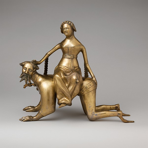 Aquamanile in the Form of Aristotle and Phyllis, Bronze; Quaternary copper alloy (approx. 72% copper, approx. 17% zinc, approx. 6% lead, approx. 3% tin)., South Netherlandish