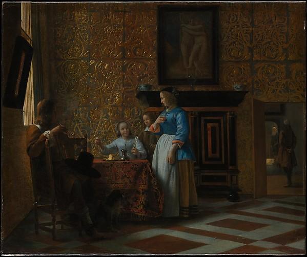 Leisure Time in an Elegant Setting, Pieter de Hooch (Dutch, Rotterdam 1629–1684 Amsterdam), Oil on canvas