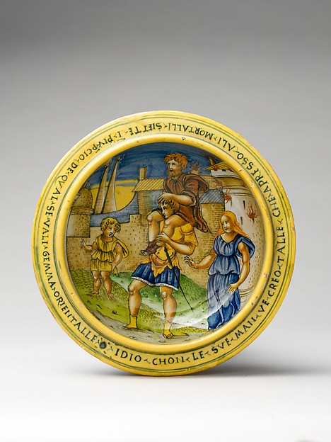 Broth bowl and cover (scodella and tagliere) from an accouchement set; Aeneas leaving Troy with his father and son (inside bowl); Pyramis and Thisbe (on cover), Baldassare Manara (Italian, Faenza, active first half 16th century), Maiolica (tin-glazed earthenware)