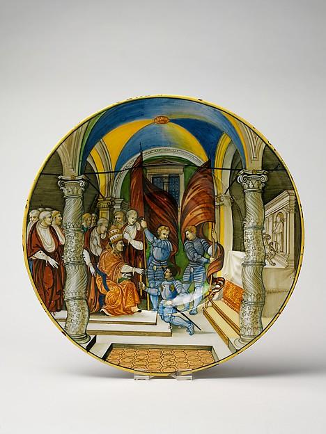 Large Dish (tagliere): Pope Leo X presenting a baton to Federigo II Gonzaga, marquis of Mantua, on his appointment as captain general of the Church in 1521., Nicola da Urbino (Italian, active by 1520–died ?1537/38 Urbino), Maiolica (tin-glazed earthenware)