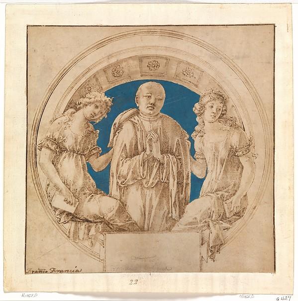 Design for a Wall Monument, Francesco di Giorgio Martini (Italian, Siena 1439–1501 Siena), Pen and brown ink, brush and brown wash, blue gouache, on vellum