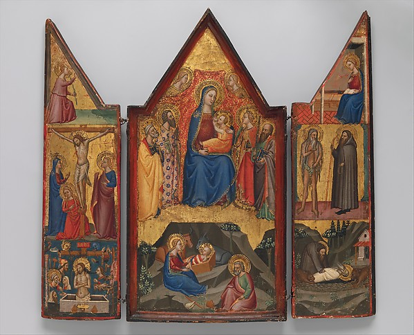 Madonna and Child Enthroned with Saints Peter, Bartholomew, Catherine of Alexandria, and Paul, and (below) the Nativity; left wing (top to bottom): Annunciatory Angel, Crucified Christ with the Virgin, Saints Mary Magdalen and John, and Christ as the Man of Sorrows; right wing (top to bottom): Virgin Annunciate, Saints Onophrius and Paphnutius, and Saint Onophrius Buried by Saint Paphnutius., Matteo di Pacino (documented 1359–1394), Tempera on wood, gold ground, Italian