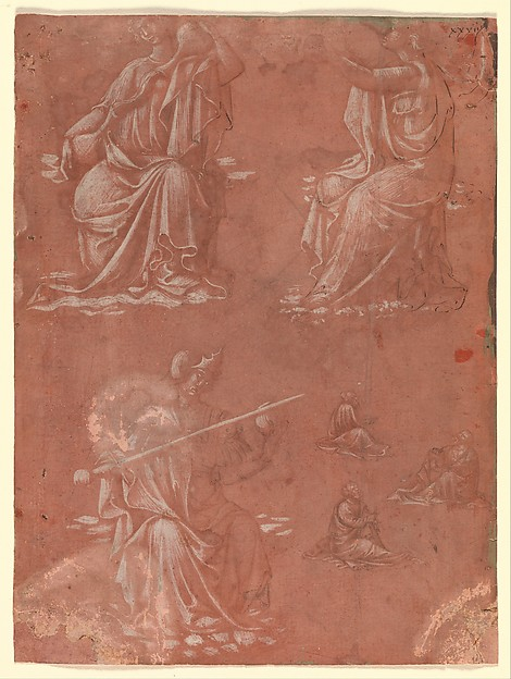 Three Virtues (Temperance, Hope, and Fortitude or Justice) and Studies of a Seated Man, Circle of Lorenzo Monaco (Piero di Giovanni) (Italian, Florence (?) ca. 1370–1425 Florence (?)), Metalpoint, touches of brush and brown wash, heightened with white (partially oxidized in the figure at the lower left), on reddish violet prepared paper.  Some lines retraced in pen and brown ink at a later date., Italian, Florence