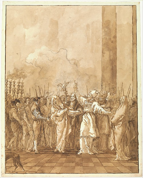 The Betrothal of the Virgin, Giovanni Domenico Tiepolo (Italian, Venice 1727–1804 Venice), Pen and brown ink, brown wash, over black chalk.
