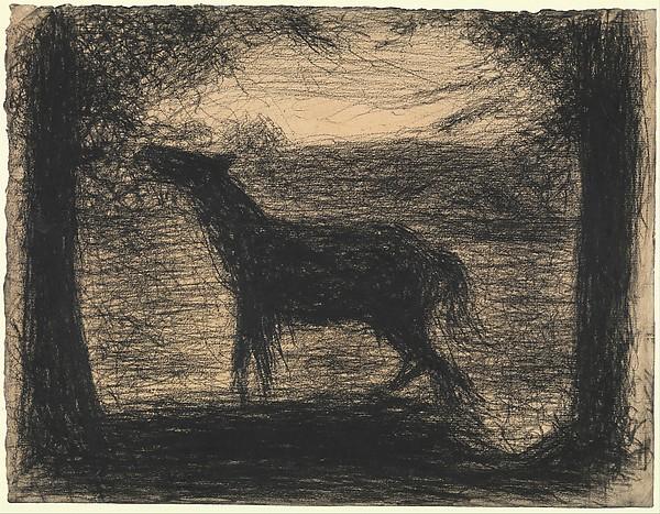 """Foal (Le Poulain) [also called """"The Colt""""], Georges Seurat (French, Paris 1859–1891 Paris), Conté crayon on laid paper"""