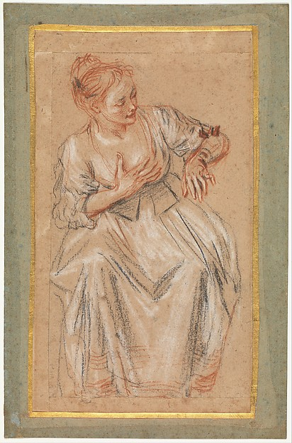 Seated Woman, Antoine Watteau (French, Valenciennes 1684–1721 Nogent-sur-Marne), Black, red and white chalk
