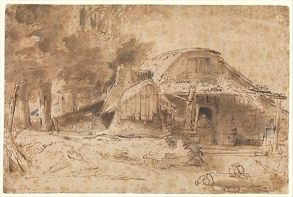 Cottage near the Entrance to a Wood, Rembrandt (Rembrandt van Rijn) (Dutch, Leiden 1606–1669 Amsterdam), Pen and inks ranging from light to dark brown, brown washes, corrected in white (oxidized, partially abraded), and touches of red chalk (in added structures to the left of the main cottage).