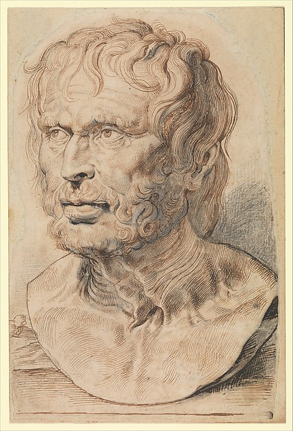 Bust of Pseudo-Seneca, Peter Paul Rubens (Flemish, Siegen 1577–1640 Antwerp)  , and Assistant (?), Pen and brown ink over black chalk heightened with white, with brush and gray ink