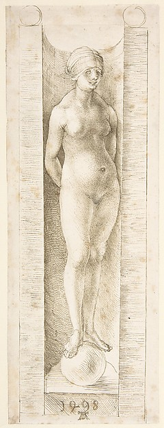 Fortuna in a Niche, Albrecht Dürer (German, Nuremberg 1471–1528 Nuremberg), Pen and greenish brown ink