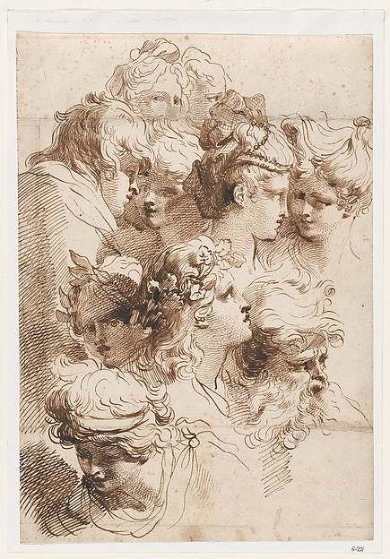 A Sheet of Heads, Mauro Gandolfi (Italian, Bologna 1764–1834 Bologna), Pen and brown ink