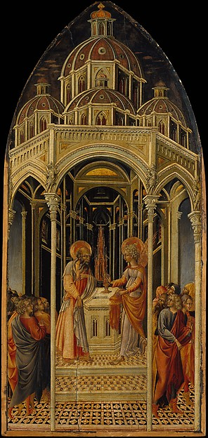 The Annunciation to Zacharias; (verso) The Angel of the Annunciation, Giovanni di Paolo (Giovanni di Paolo di Grazia) (Italian, Siena 1398–1482 Siena), Tempera and gold on wood
