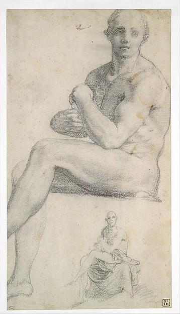 Two Studies of a Seated Male Nude, Follower of Jacopo da Pontormo (Jacopo Carucci) (Italian, Pontormo 1494–1556 Florence), Black chalk