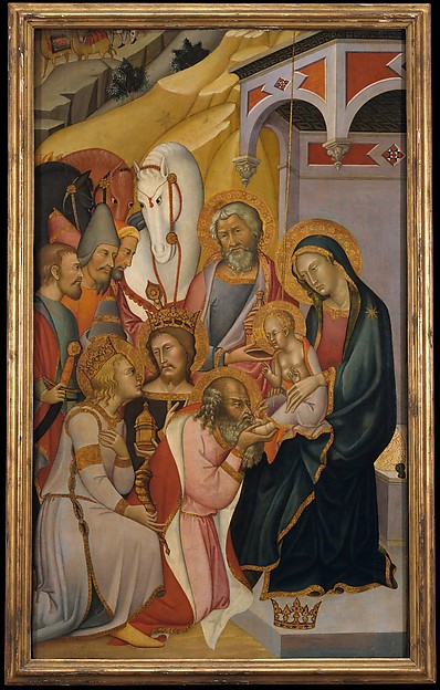 The Adoration of the Magi, Bartolo di Fredi (Italian, active by 1353–died 1410 Siena), Tempera and gold on wood