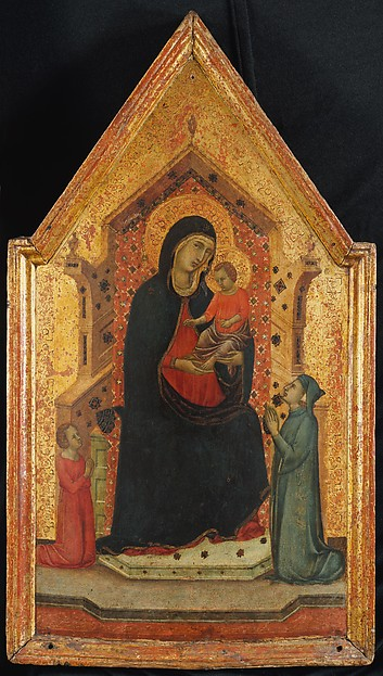 Madonna and Child Enthroned with Two Donors, Goodhart Ducciesque Master (Italian, Siena, active ca. 1315–30), Tempera on wood, gold ground