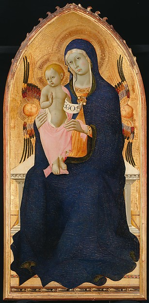 Madonna and Child Enthroned with Two Cherubim, Osservanza Master (Italian, Siena, active second quarter 15th century), Tempera on wood, gold ground, Italian, Siena