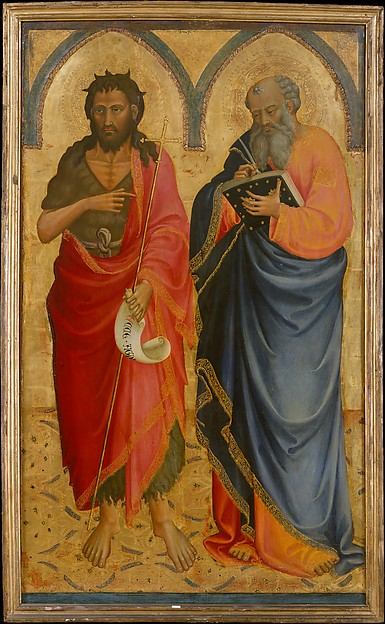 Saints John the Baptist and Matthew, Bicci di Lorenzo (Italian, Florence 1373–1452 Florence), Tempera on wood, gold ground
